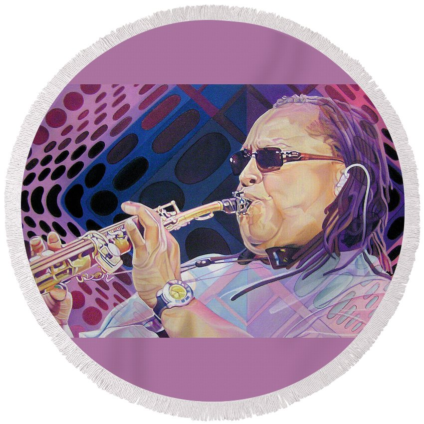 Leroi Moore Round Beach Towel featuring the drawing Leroi Moore by Joshua Morton