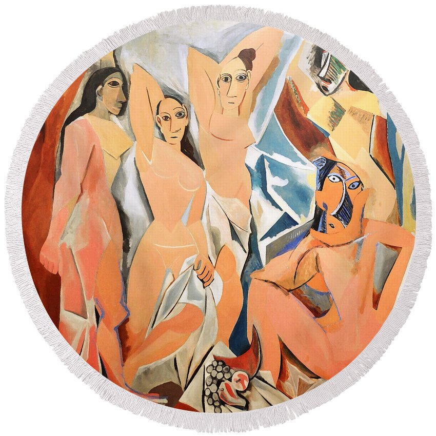 Picasso Round Beach Towel featuring the photograph Les Demoiselles D'avignon Picasso by RicardMN Photography