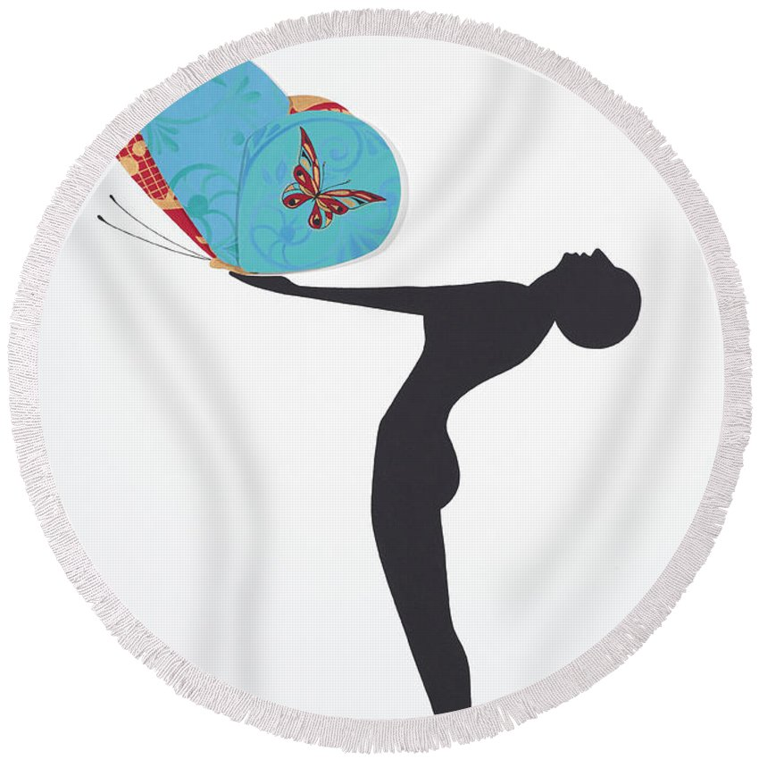 Papillon Round Beach Towel featuring the painting Les Papillons, 2008 by Jenny Barnard