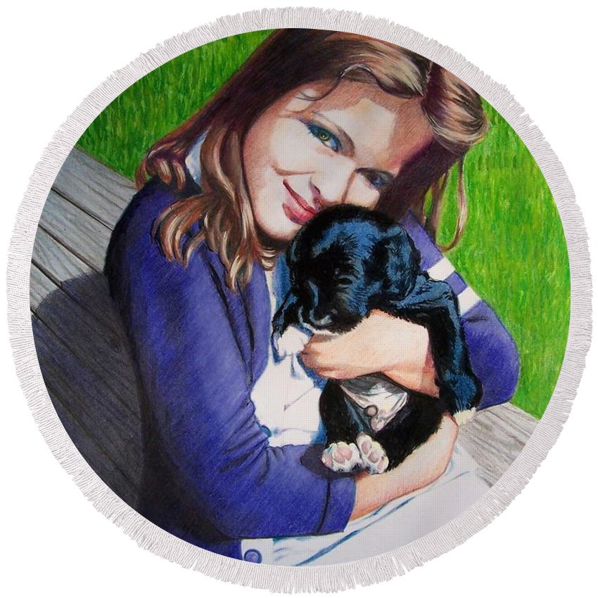 Girl Round Beach Towel featuring the mixed media Leslie And Sergeant by Constance Drescher