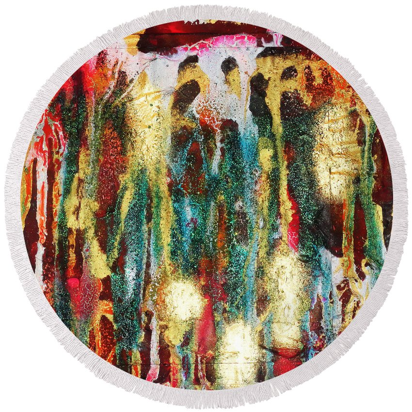 Abstract Round Beach Towel featuring the painting Let The Old Go by Yael VanGruber