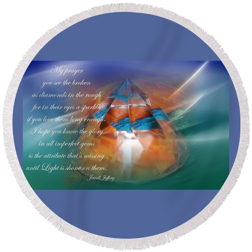 Shine Round Beach Towel featuring the digital art Let Your Light Shine by Jewell McChesney