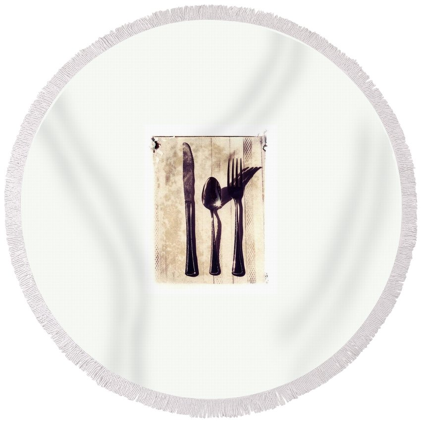 Forks Round Beach Towel featuring the photograph Lets Eat by Jane Linders