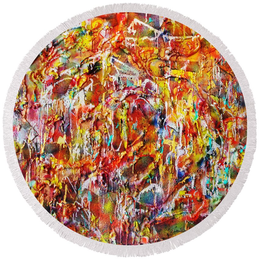 Acrylic Painting Round Beach Towel featuring the painting Letting Go by Yael VanGruber