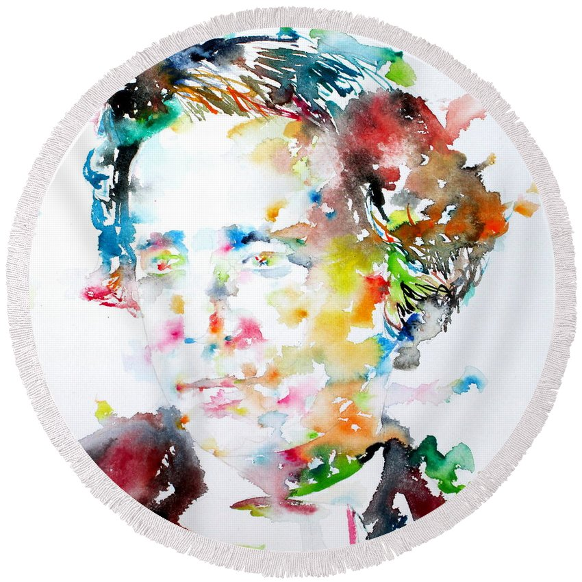 Lewis Carroll Round Beach Towel featuring the painting Lewis Carroll - Watercolor Portrait by Fabrizio Cassetta