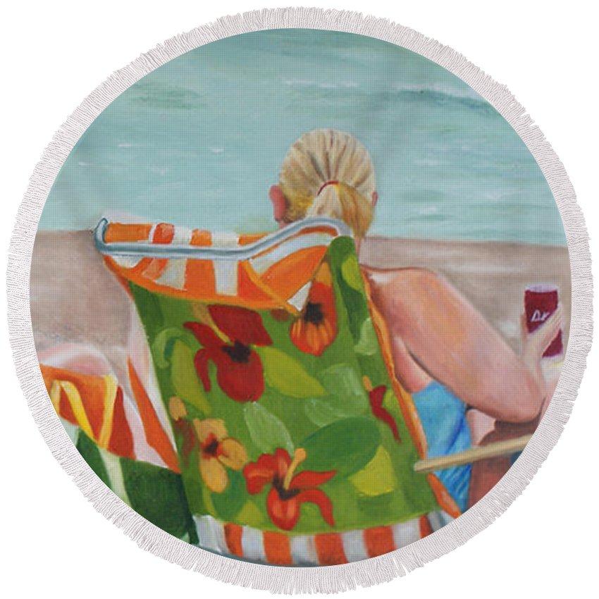 Beach Round Beach Towel featuring the painting Ladies' Beach Retreat by Jill Ciccone Pike