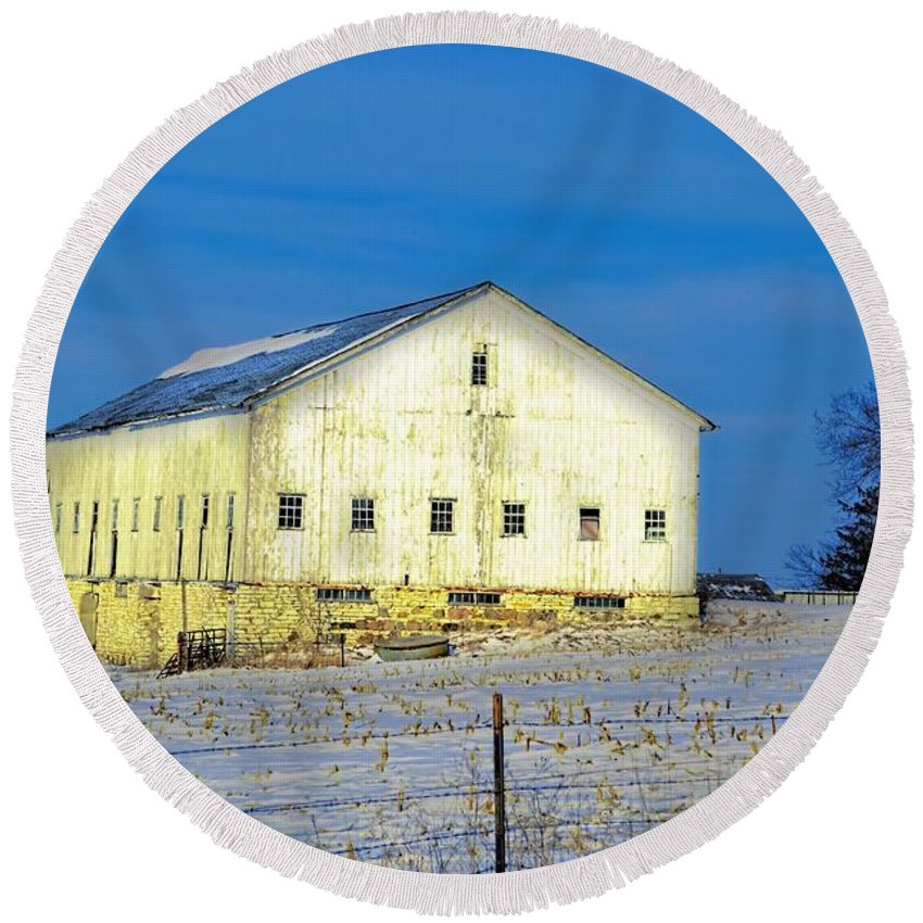 Rustic Round Beach Towel featuring the photograph Liberty Barn by Bonfire Photography