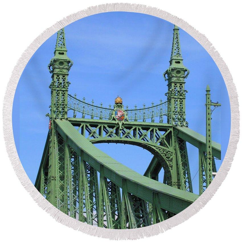 Budapest Round Beach Towel featuring the photograph Liberty Bridge Budapest by Ann Horn