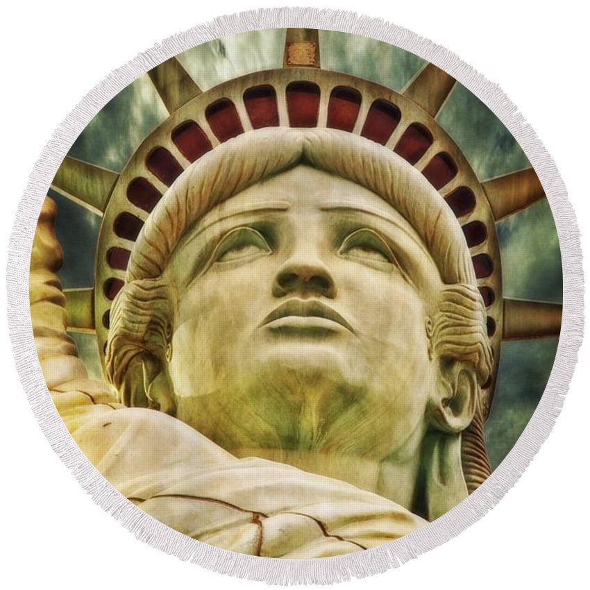 Red Round Beach Towel featuring the painting Liberty by FL collection