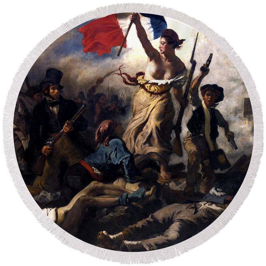 French Revolution Round Beach Towel featuring the painting Liberty Leading The People During The French Revolution by War Is Hell Store