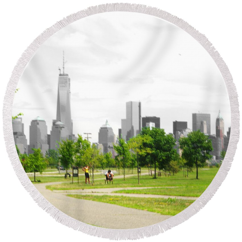 Liberty Round Beach Towel featuring the photograph Liberty Park by Larry Jost