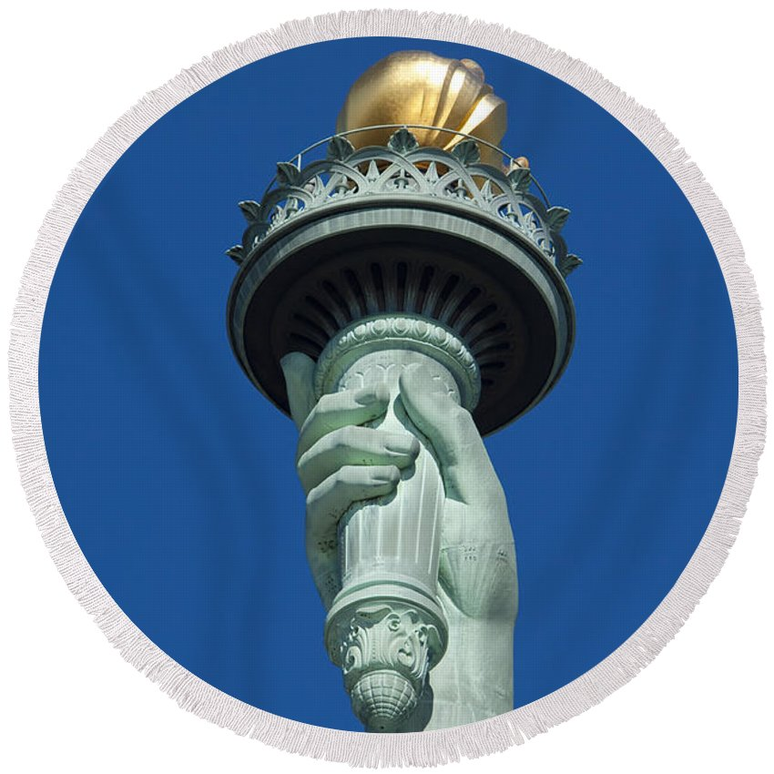 Statue Round Beach Towel featuring the photograph Liberty Torch by Brian Jannsen
