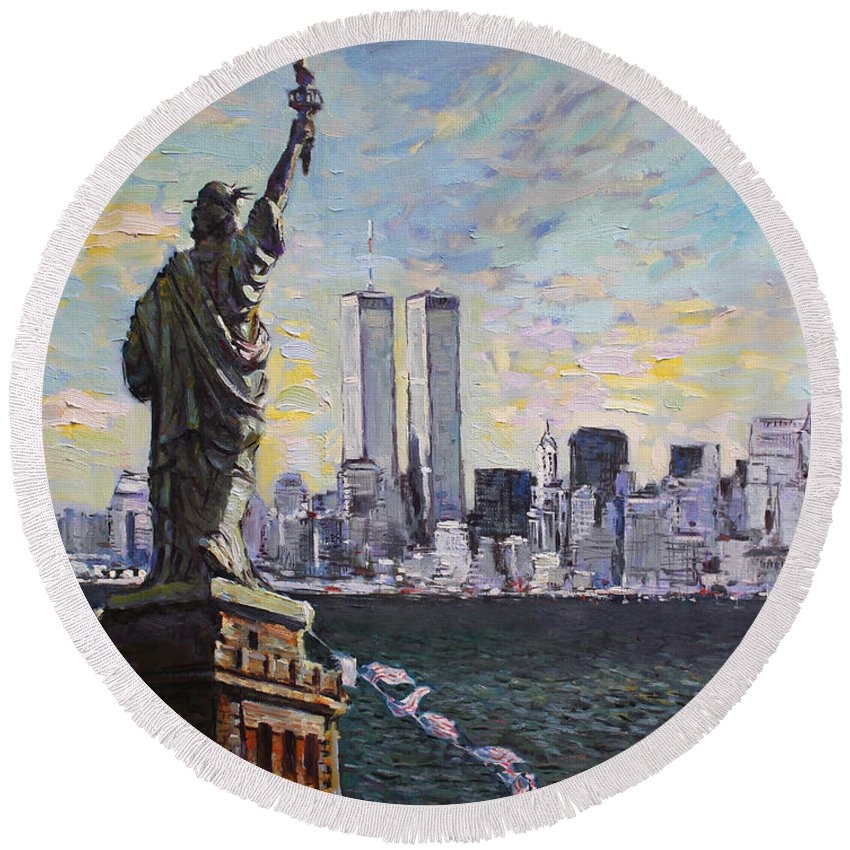 City Scape Round Beach Towels