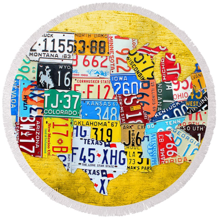 License Plate Map Round Beach Towel featuring the mixed media License Plate Art Map Of The United States On Yellow Board by Design Turnpike