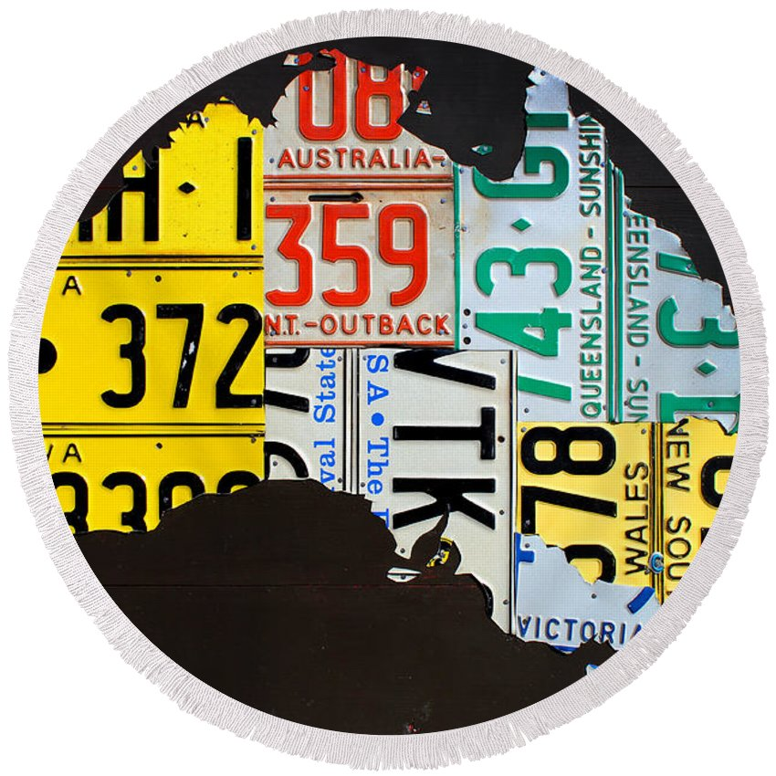 License Round Beach Towel featuring the mixed media License Plate Map Of Australia by Design Turnpike