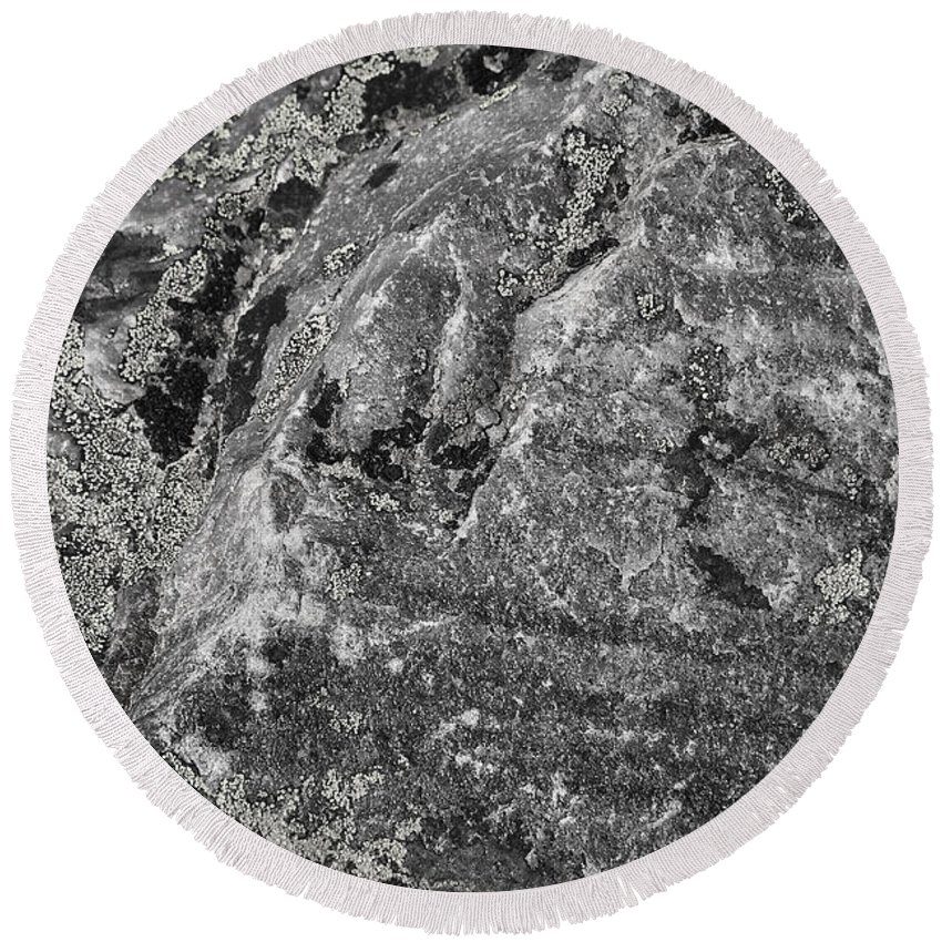 Rock Round Beach Towel featuring the photograph Lichen On The Whistlers - Black And White by Stuart Litoff