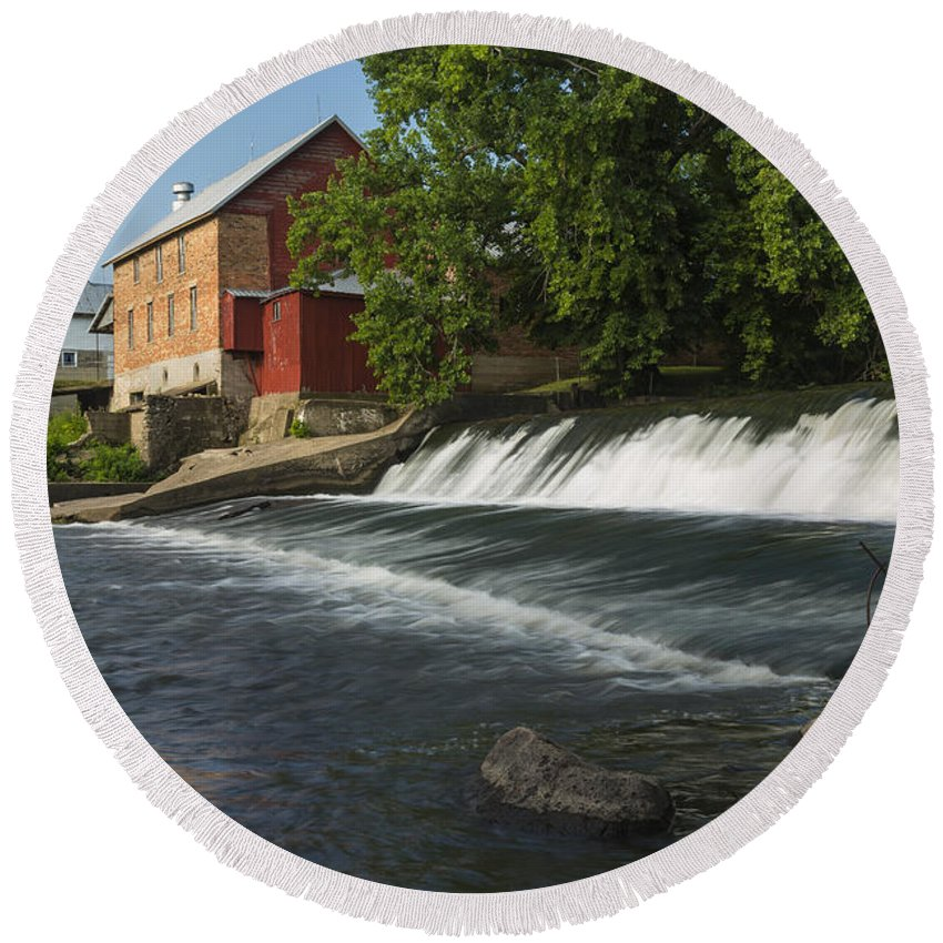 Grist Round Beach Towel featuring the photograph Lidtke Mill 1 A by John Brueske