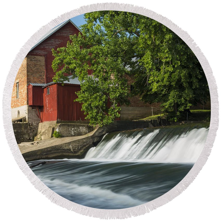 Grist Round Beach Towel featuring the photograph Lidtke Mill 2 by John Brueske