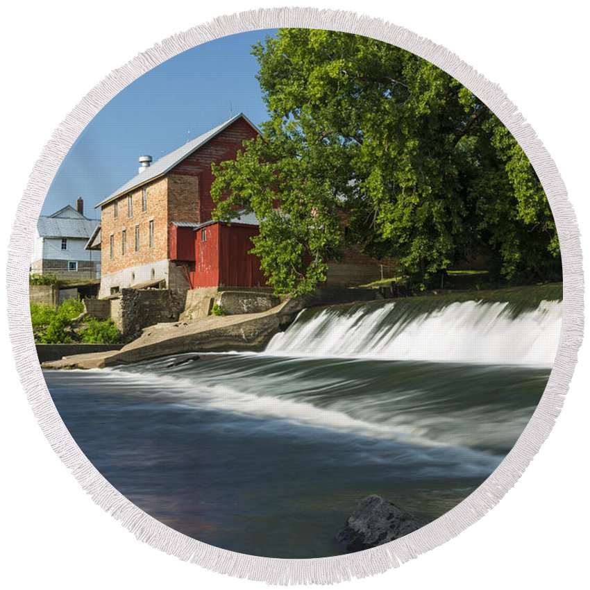 Grist Round Beach Towel featuring the photograph Lidtke Mill 3 by John Brueske