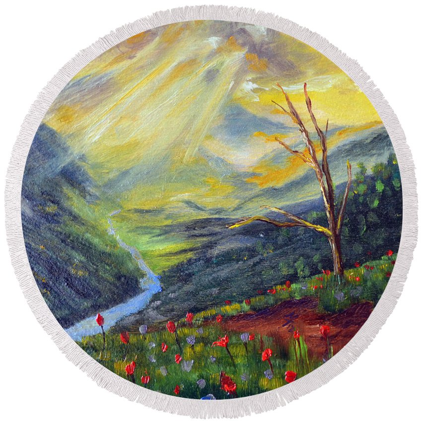 Landscape Round Beach Towel featuring the painting Life Force by Meaghan Troup