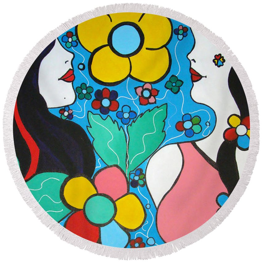 Pop-art Round Beach Towel featuring the painting Life Is Beautiful by Silvana Abel