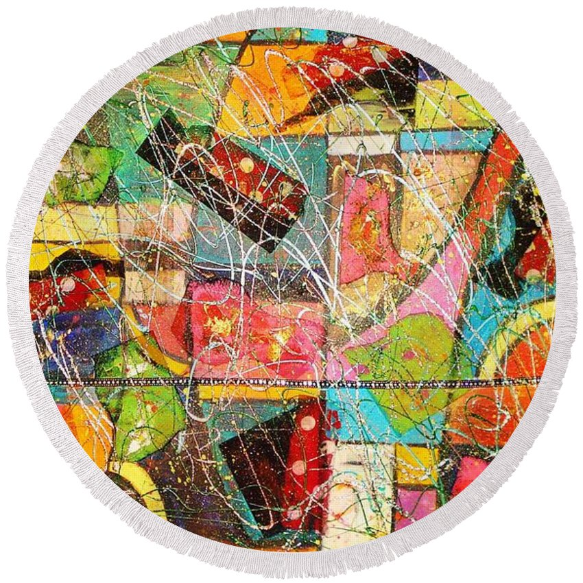 Paintings Round Beach Towel featuring the painting Life Is Beautiful by Yael VanGruber