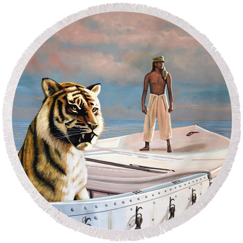 Life Of Pi Round Beach Towel featuring the painting Life Of Pi by Paul Meijering