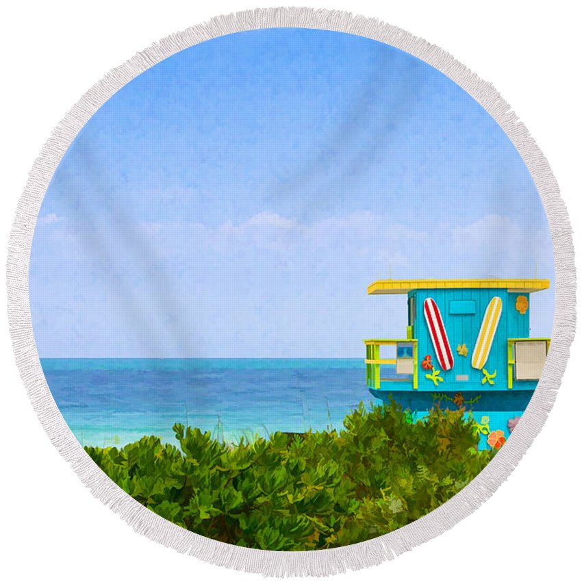 Symbol Round Beach Towel featuring the photograph Lifeguard Station In Miami by Les Palenik