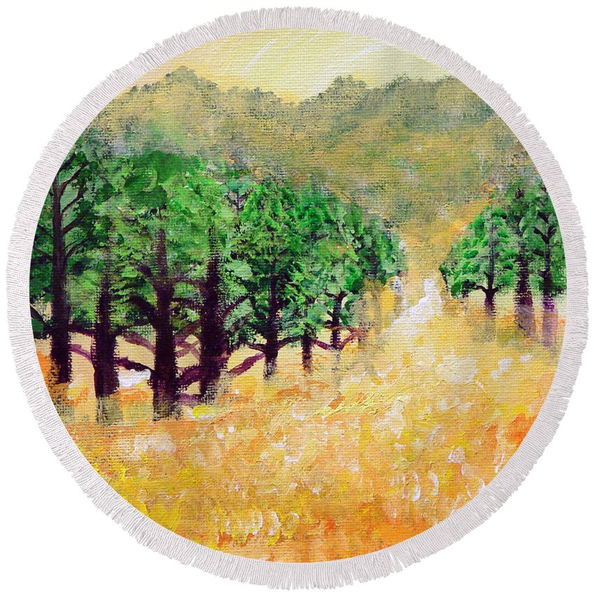 Landscape Round Beach Towel featuring the painting Life's Path by Ashleigh Dyan Bayer