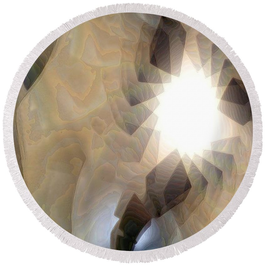 Abstract Round Beach Towel featuring the digital art Light 2 by Ron Bissett
