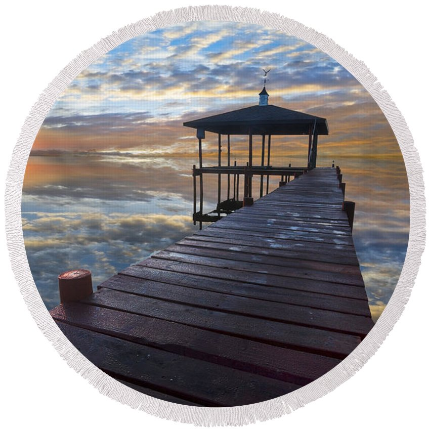 Clouds Round Beach Towel featuring the photograph Light At The Lake by Debra and Dave Vanderlaan