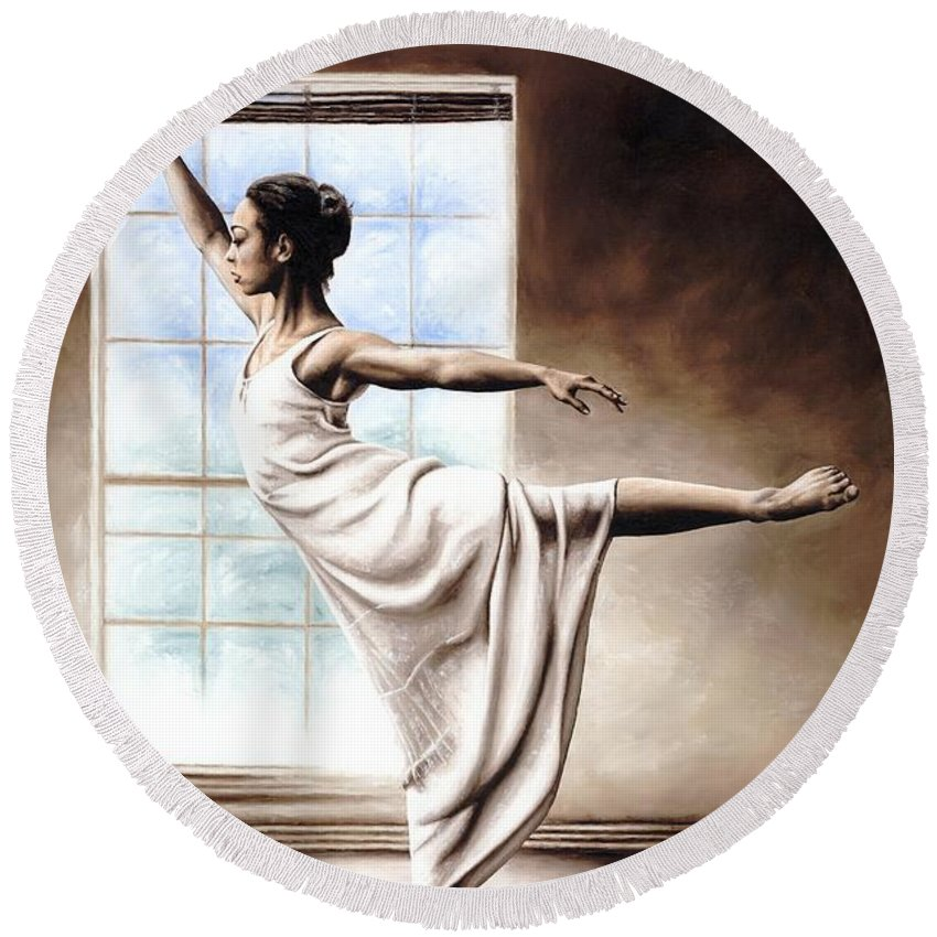Dance Round Beach Towel featuring the painting Light Elegance by Richard Young