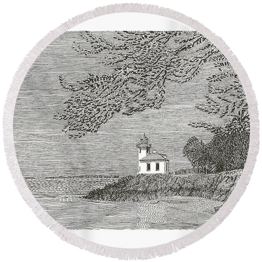 San Juan Islands Lime Point Lighthouse Round Beach Towel featuring the drawing Light House On San Juan Island Lime Point Lighthouse by Jack Pumphrey