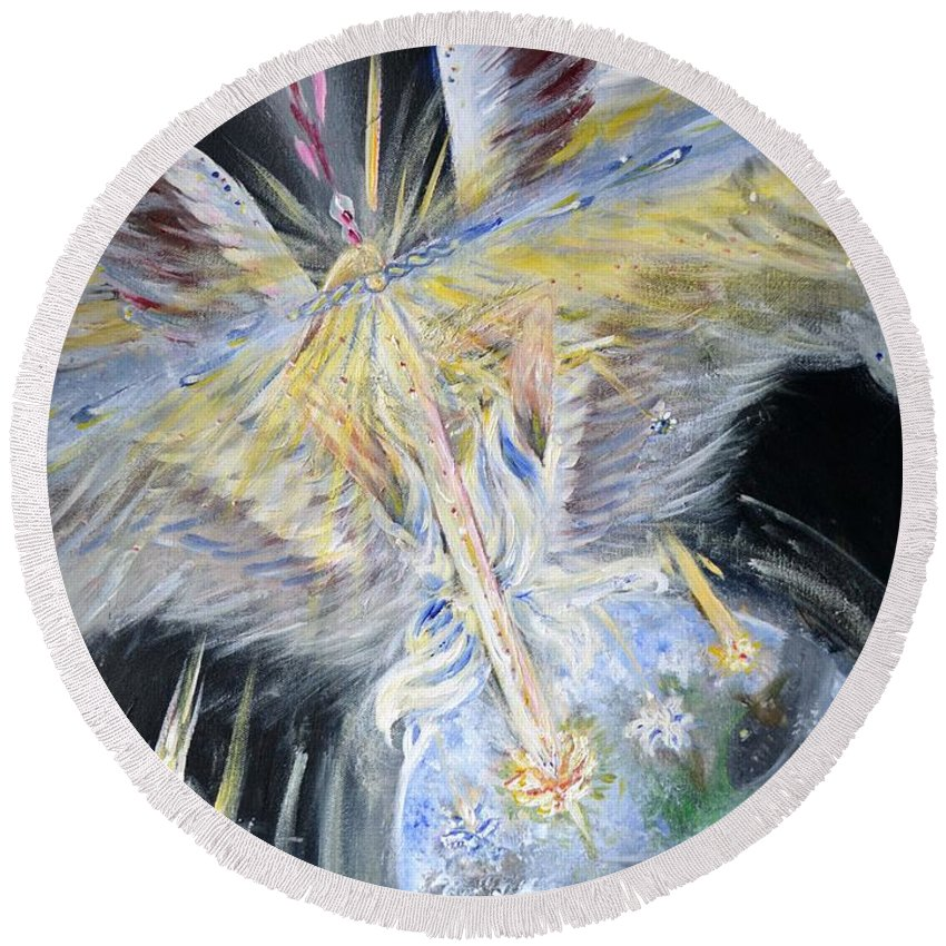 Angel Round Beach Towel featuring the painting Light Of Awakening by Katerina Naumenko