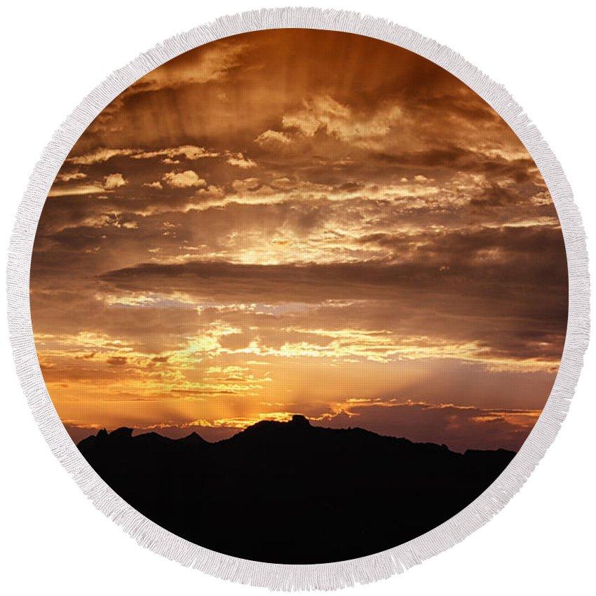 Sunset Round Beach Towel featuring the photograph Light Up The Sky by Saija Lehtonen