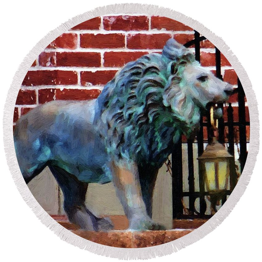 Lion Round Beach Towel featuring the painting Lightbearer by RC DeWinter