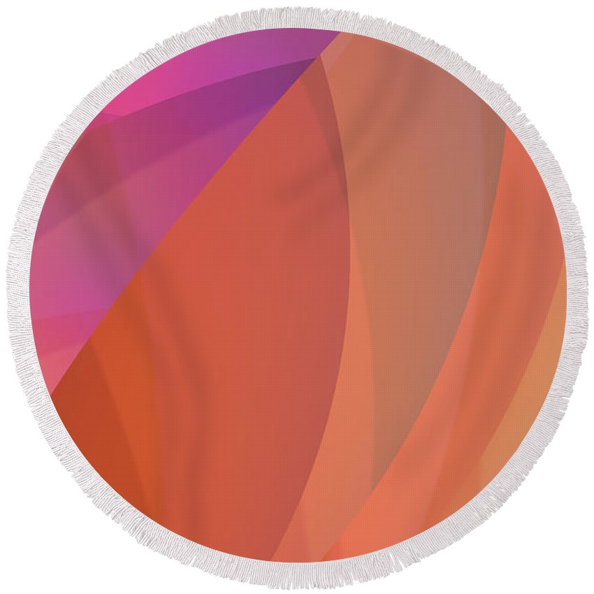 Abstract Round Beach Towel featuring the digital art Lighthearted by Judi Suni Hall