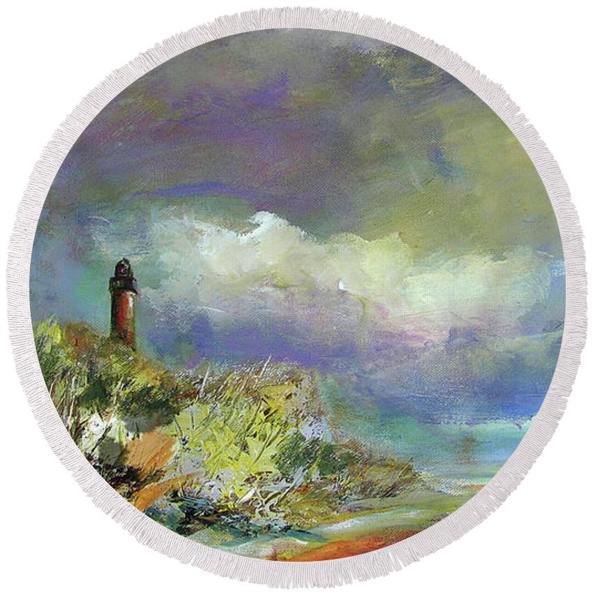 Art Round Beach Towel featuring the painting Lighthouse And Fisherman by Julianne Felton