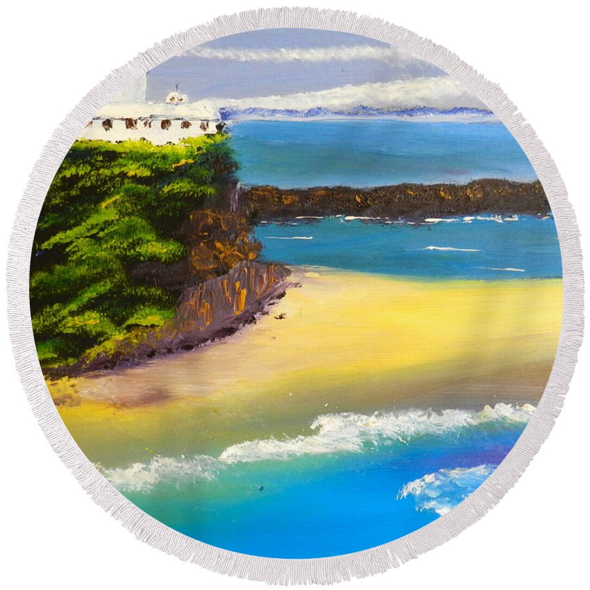 Nature Round Beach Towel featuring the painting Lighthouse At Nobbys Beach Newcastle Australia by Pamela Meredith