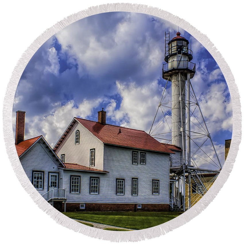 Lighthouse Round Beach Towel featuring the photograph Lighthouse At Whitefish Point by Nick Zelinsky
