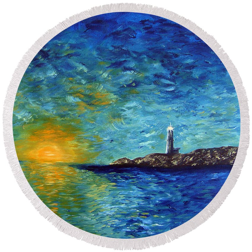 Lighthouse Round Beach Towel featuring the painting Lighthouse by Donna Blackhall