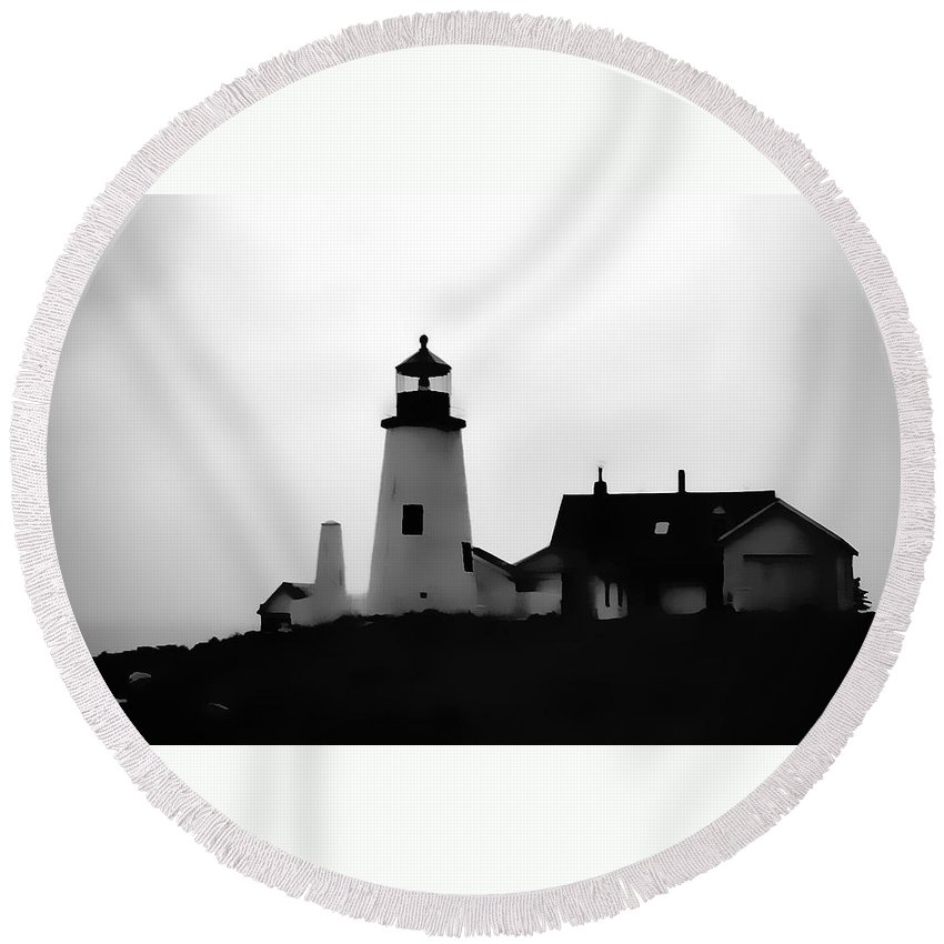 Round Beach Towel featuring the digital art Lighthouse In Silhouette by Cathy Anderson