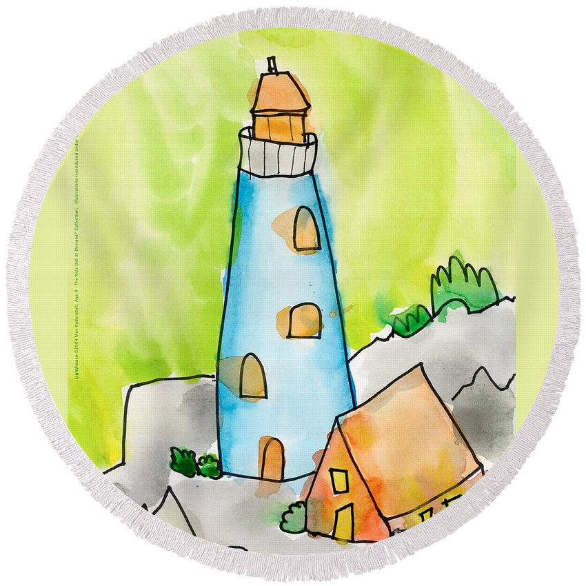 Lighthouse Round Beach Towel featuring the painting Lighthouse by Max Kederabek Age Nine