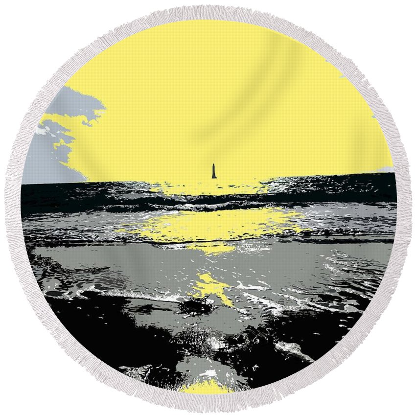 Lighthouse Round Beach Towel featuring the painting Lighthouse On The Horizon by Patrick J Murphy