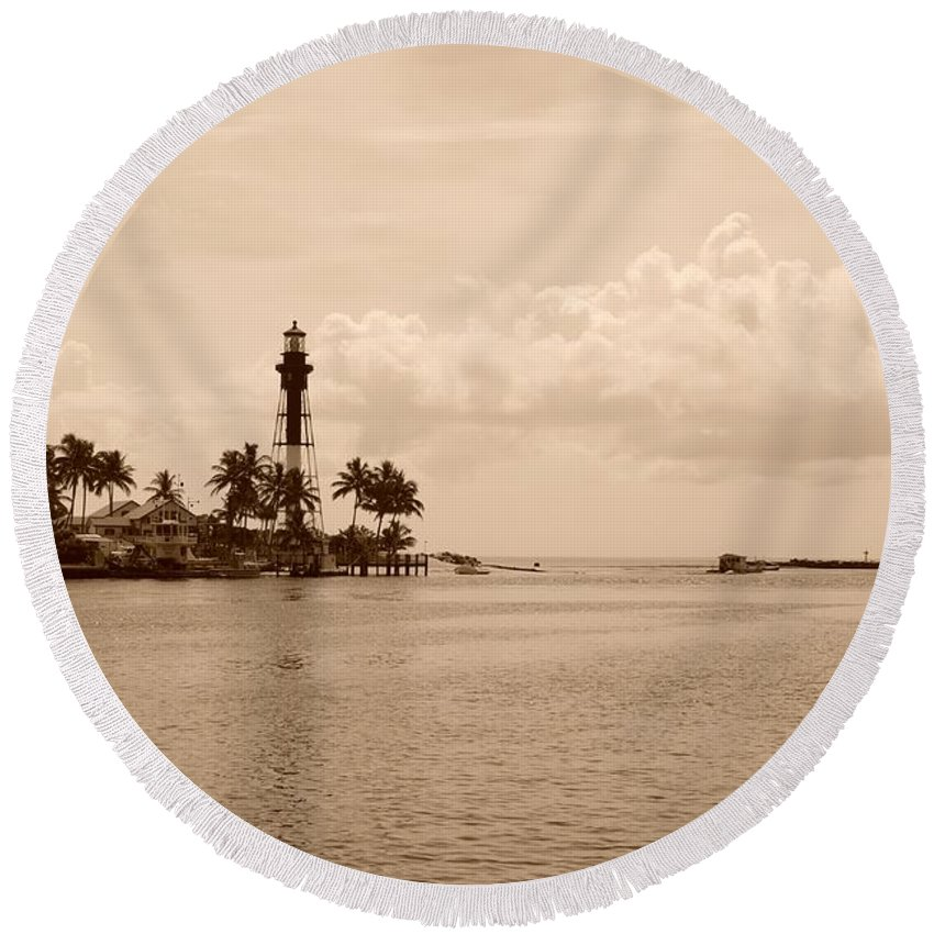 Sepia Round Beach Towel featuring the photograph Lighthouse Point by Rob Hans
