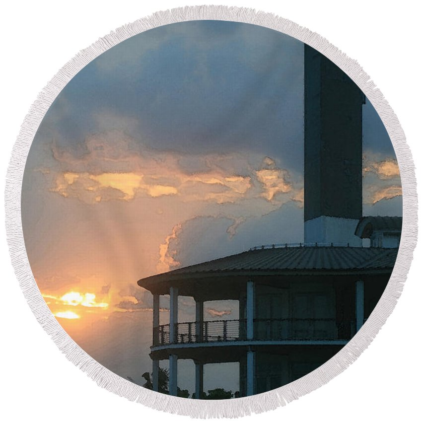 Lighthouse Round Beach Towel featuring the photograph Lighthouse Silhouette by Kathy Clark