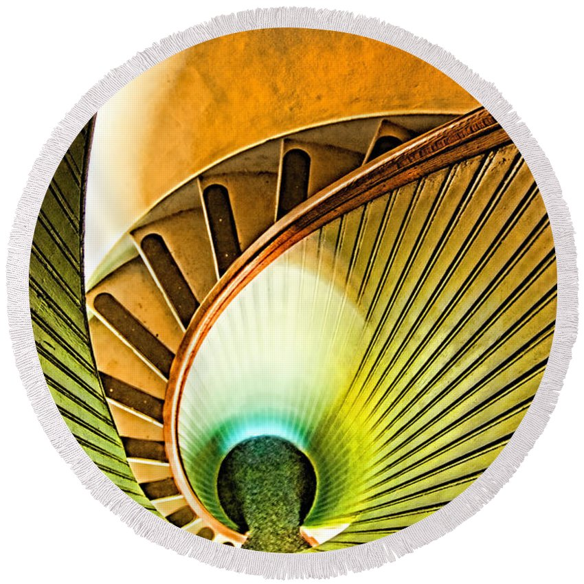 Point Loma Round Beach Towel featuring the photograph Lighthouse Stairway - Point Loma San Diego by Jon Berghoff