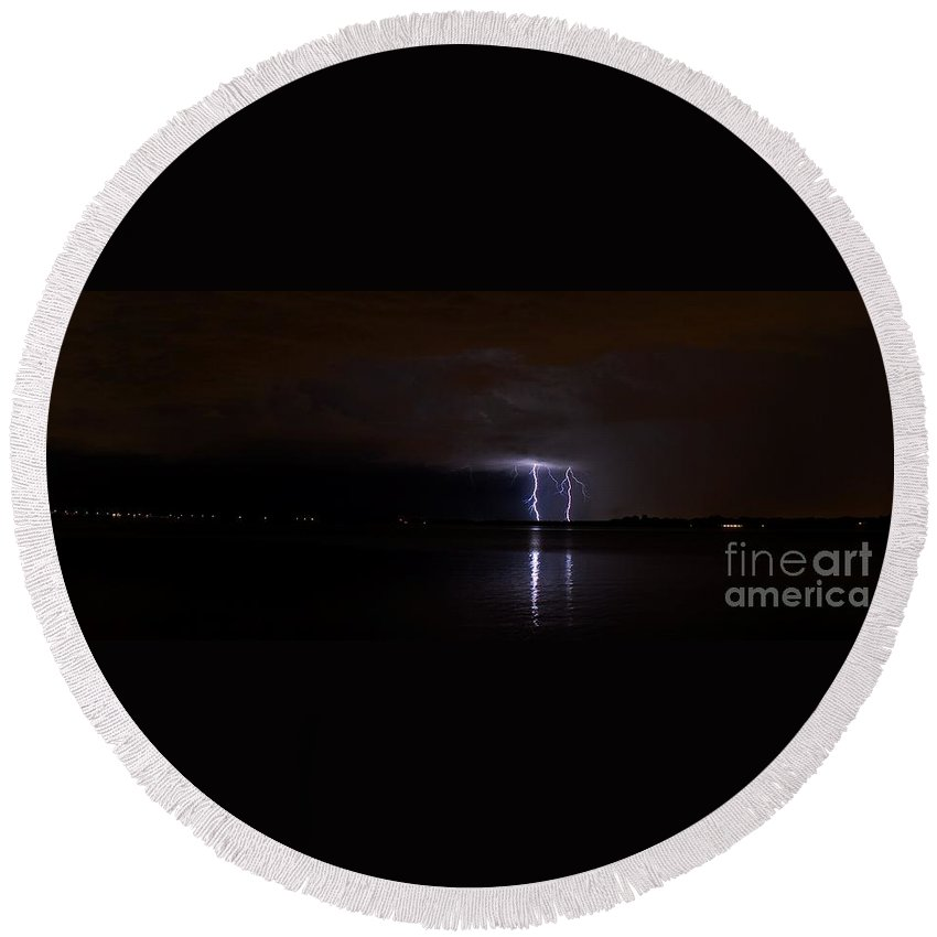 Powerful Round Beach Towel featuring the photograph Lighting The Night by Quinn Sedam