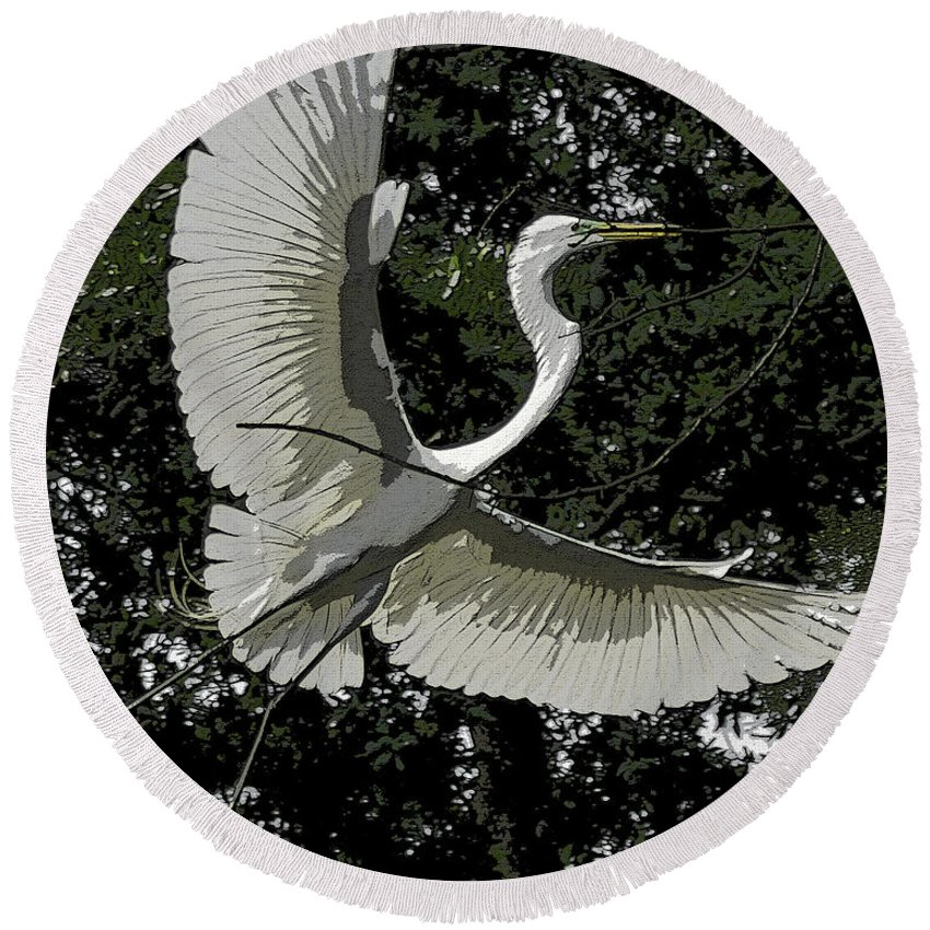 Heron Round Beach Towel featuring the photograph Lightness Of Being by James Ekstrom