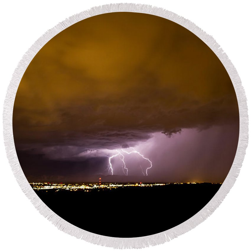 Bolts Round Beach Towel featuring the photograph Lightning 16 by Jeff Stoddart
